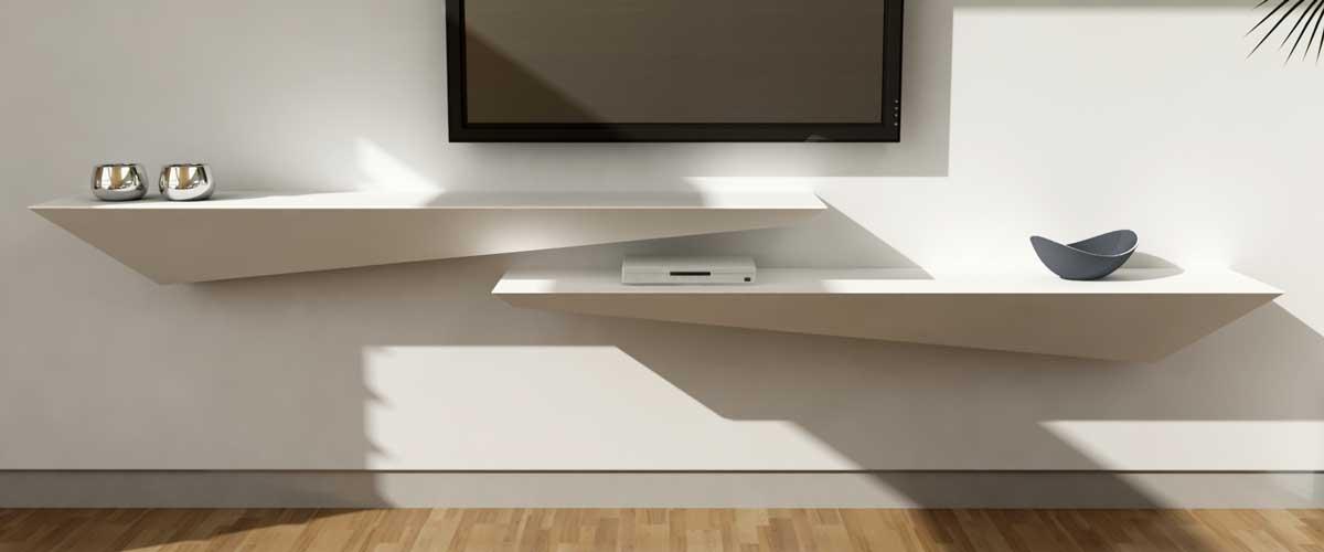 Mensola consolle porta TV – Legno – Corian – Arco Arredo lavorazione Corian N...