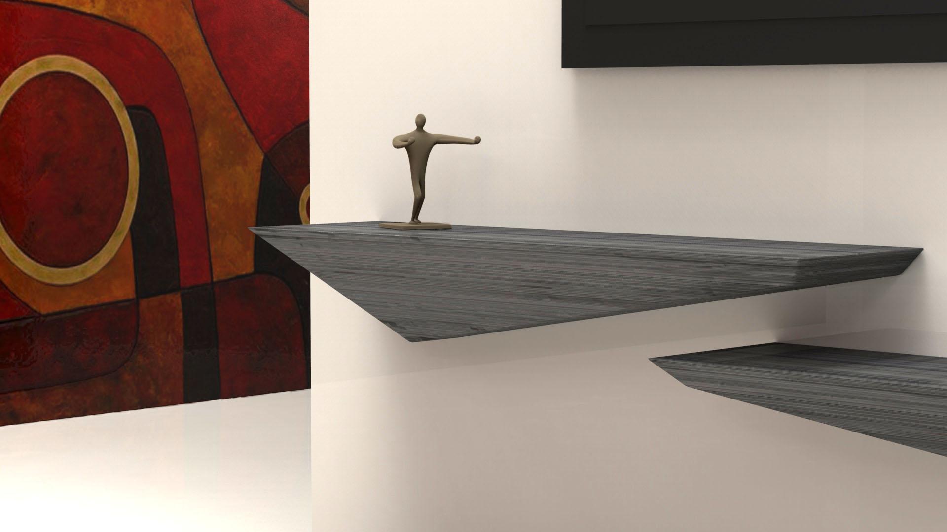 Mensole a muro porta tv in legno o corian arco arredo - Mensola porta tv ...