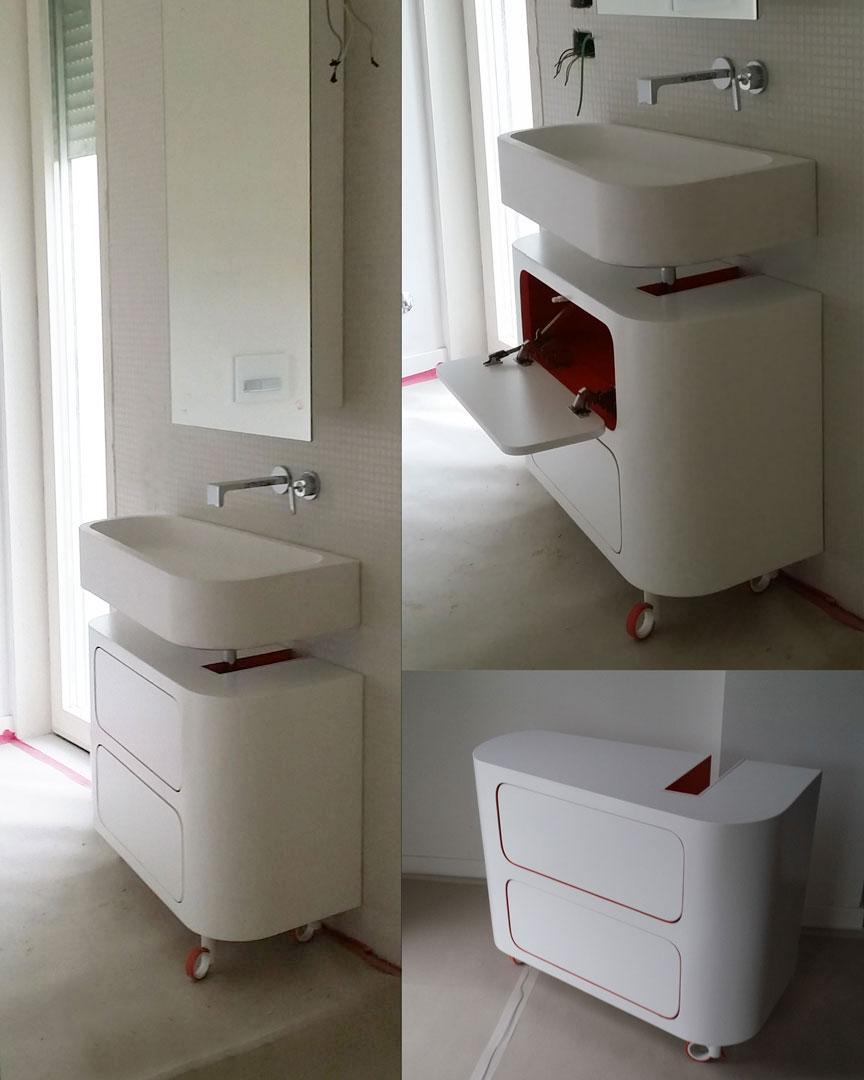 Lavabo bagno in corian top mobiletto in legno for Layout rettangolare per bagno