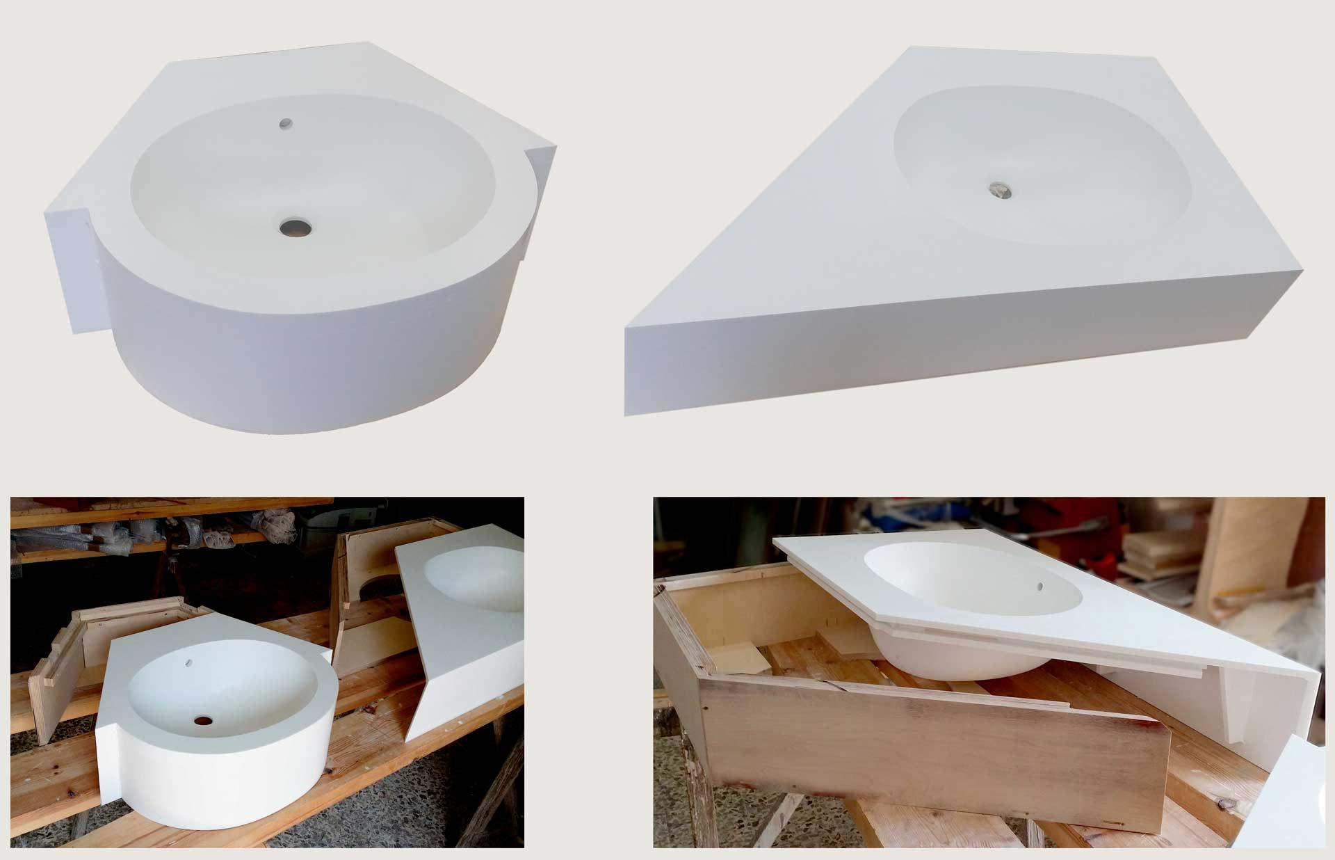 Lavabo bagno in corian top mobiletto in legno - Top bagno su misura ...