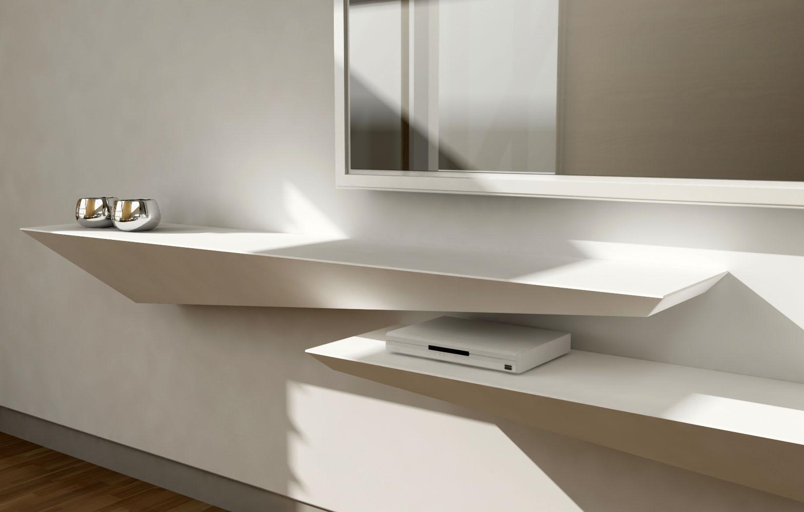 Lune design 39 tzeno 39 mensola a muro in corian e legno - Mensola porta piatti ...