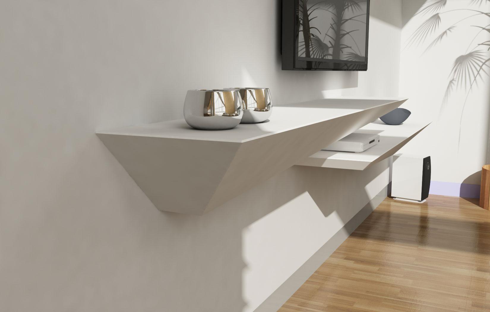 lune design 39 tzeno 39 mensola a muro in corian e legno. Black Bedroom Furniture Sets. Home Design Ideas