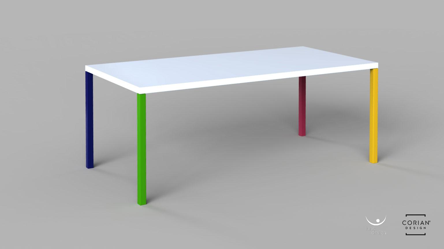 Lune Design - Tavolo \'Sorrento\' con piano in Corian®