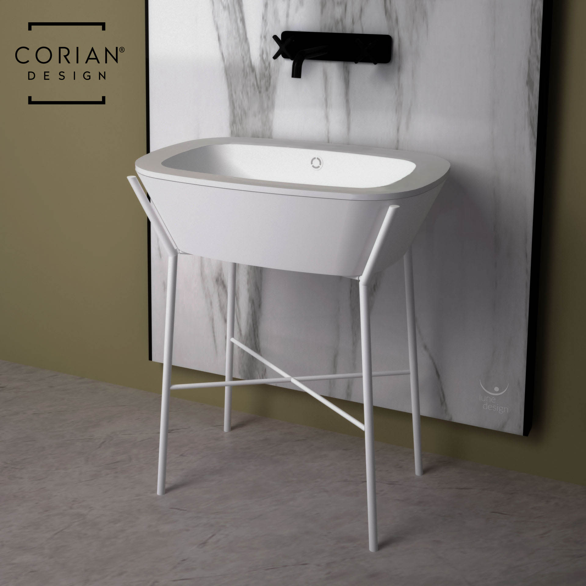 Piano Lavabo In Corian lune design - lavabo bagno in corian® bianco - base in metallo